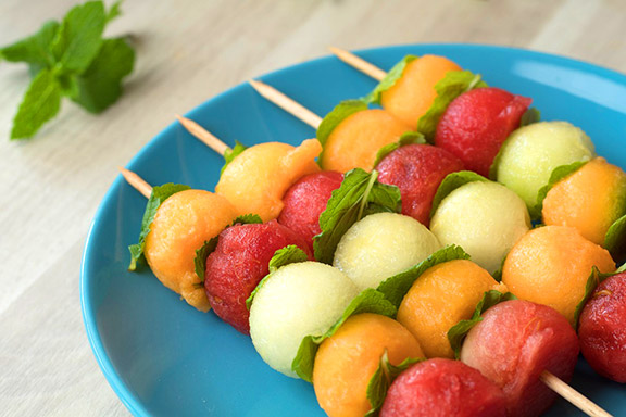 Melon-Balls-with-Basil-Mint-Dressing